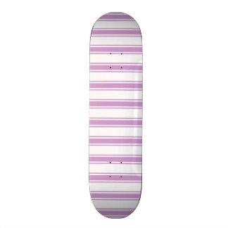 Lavender Purple and White Stripes; Striped Skateboard