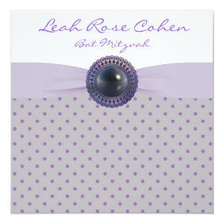 Lavender Purple Bat Mitzvah 13 Cm X 13 Cm Square Invitation Card