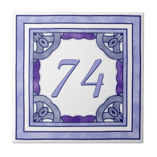 Lavender Purple Big House Number Small Square Tile