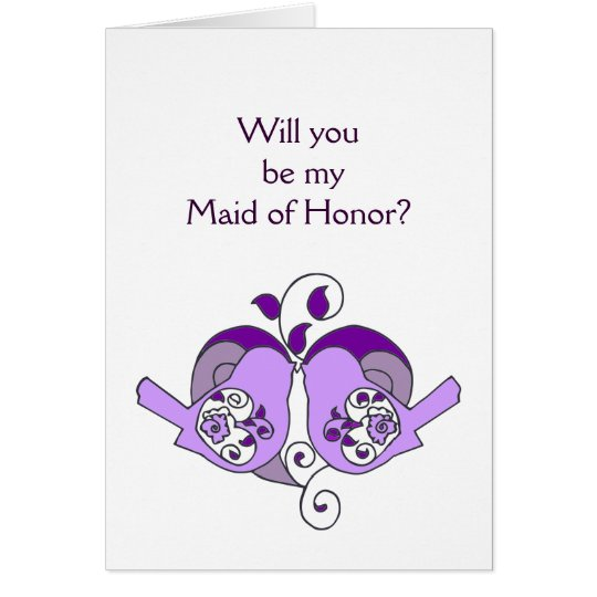 Lavender Purple  Bird Floral Heart Maid of Honour Card