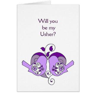 Lavender Purple  Bird Floral Heart Usher Card