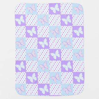Lavender Purple Blue Butterfly Polka Dot Quilt Baby Blanket