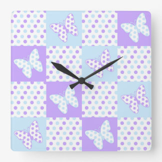 Lavender Purple Blue Butterfly Polka Dot Quilt Square Wall Clock