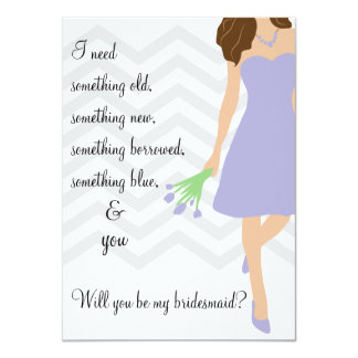 Lavender Purple Chevron Will You Be My Bridesmaid Card