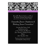 Lavender Purple Damask Black/White 13 Cm X 18 Cm Invitation Card