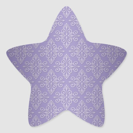 Lavender Purple Damask Pattern Star Sticker