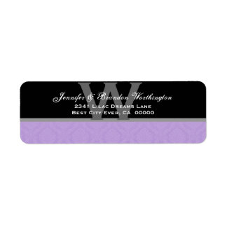 Lavender Purple Diamond Damask Wedding Collection Return Address Label