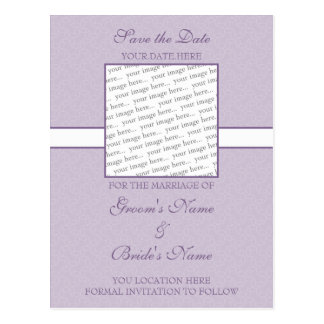 Lavender Purple Eggshell Save the Date Postcard