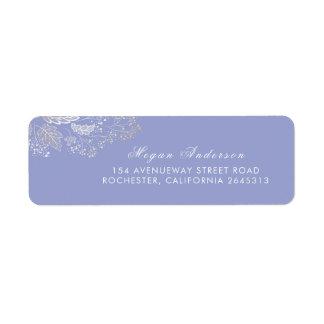 Lavender Purple Elegant Foliage Wedding Return Address Label