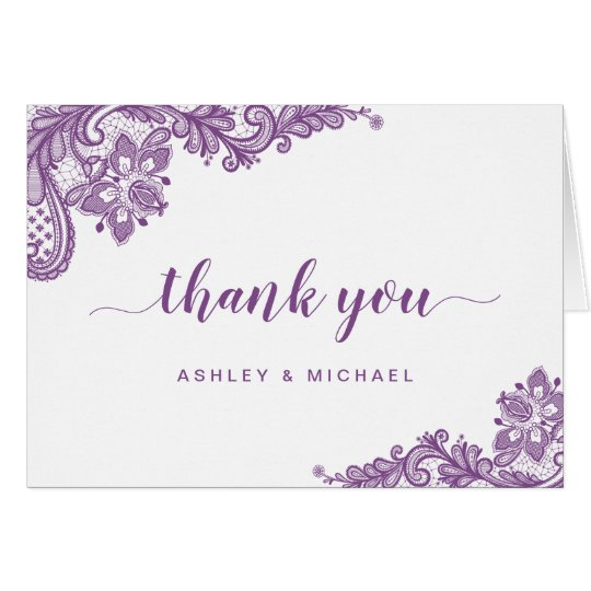 Lavender Purple Elegant Lace Floral Thank You Card