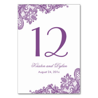 Lavender Purple Elegant Lace Wedding Table Number