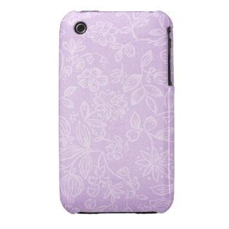 Lavender Purple Floral Fabric Pattern iPhone 3 Case-Mate Case