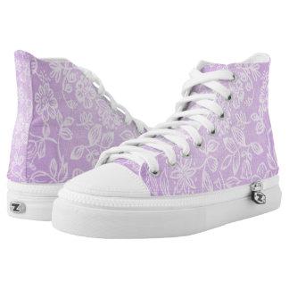 Lavender Purple Floral Flower Pattern High Tops
