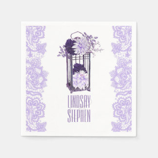 Lavender Purple Floral Lantern Wedding Disposable Napkins