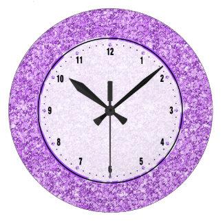 Lavender Purple Glitter Large Clock