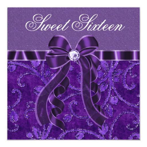 Lavender Purple Glitter Sweet Sixteen Birthday 13 Cm X 13 Cm Square Invitation Card