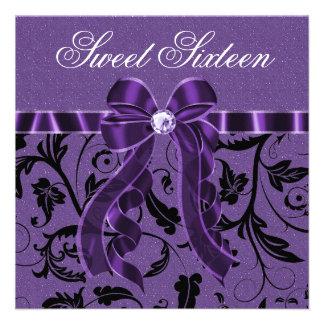 Lavender Purple Glitter Sweet Sixteen Birthday Personalized Announcement