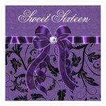 Lavender Purple Glitter Sweet Sixteen Birthday Personalised Invite