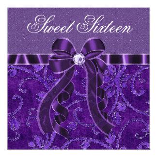 Lavender Purple Glitter Sweet Sixteen Birthday Custom Invites