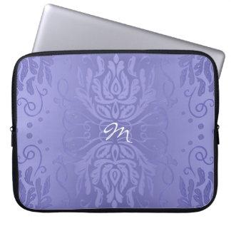 Lavender Purple Gradient Classic Damask Monogram Laptop Sleeve