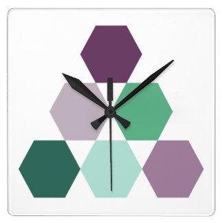 Lavender purple green mint geometric hexagons square wall clock