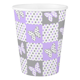 Lavender purple Grey Gray Polka Dot Quilt Girl Paper Cup