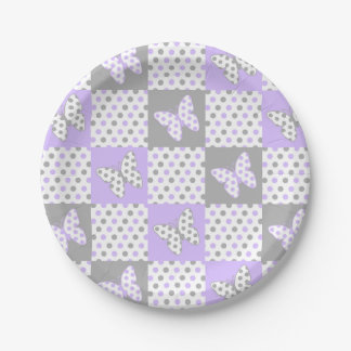 Lavender purple Grey Gray Polka Dot Quilt Girl Paper Plate