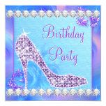 Lavender Purple High Heel Shoe Birthday Party 13 Cm X 13 Cm Square Invitation Card