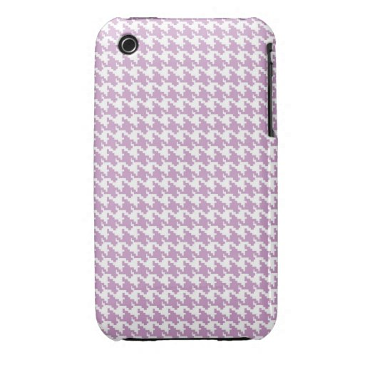 Lavender purple houndstooth tweed zigzag pattern Case-Mate iPhone 3 cases