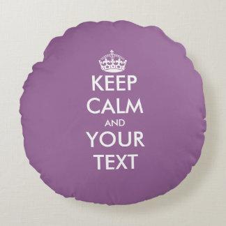 Lavender purple keep calm text round throw pillow