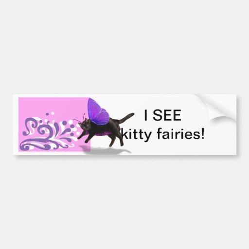 Lavender purple kitty fairy fantacy bumper sticker