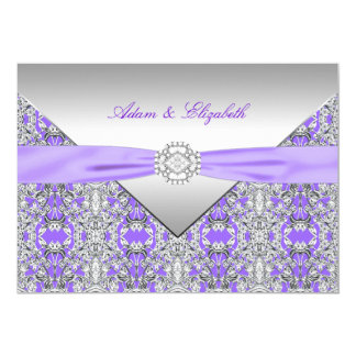 Lavender Purple Lace Diamond Ribbon Wedding Card