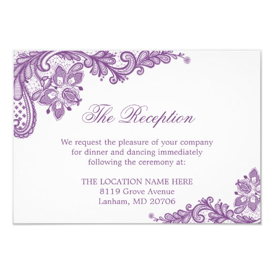 Lavender Purple Lace Wedding Information Details Card