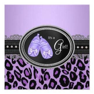 Lavender Purple Leopard Baby Girl Shower 13 Cm X 13 Cm Square Invitation Card