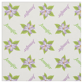 Lavender purple lily and name personalized floral fabric