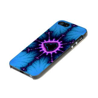 Lavender Purple Mandelbrot Cross on Blue Incipio Feather® Shine iPhone 5 Case