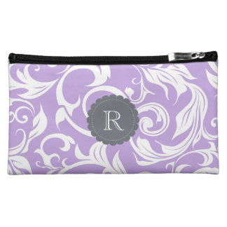 Lavender Purple Monogram Floral Wallpaper Pattern Cosmetic Bag