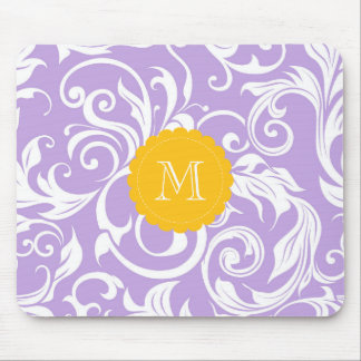 Lavender Purple Monogram Floral Wallpaper Pattern Mouse Mat