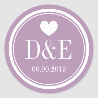 Lavender purple monogram wedding favor stickers