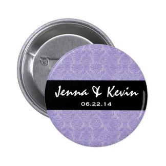 Lavender Purple Ornate Damask Wedding Collection 6 Cm Round Badge