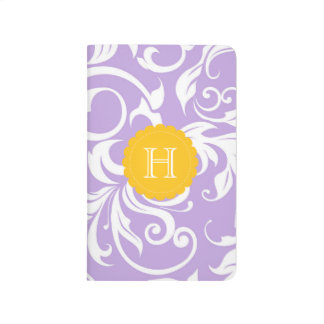 Lavender Purple Peach Floral Swirl Monogram Journal