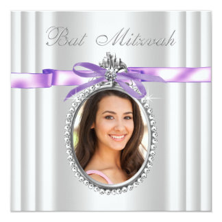 Lavender Purple Photo Bat Mitzvah Card