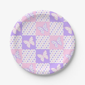 Lavender Purple Pink Butterfly Polka Dot Patchwork Paper Plate