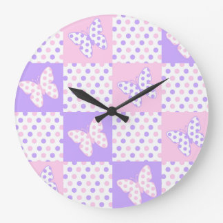 Lavender Purple Pink Butterfly Polka Dot Quilt Large Clock