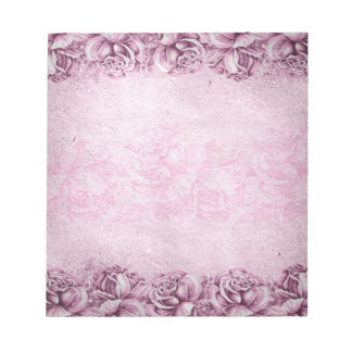 Lavender Purple Pink Vintage Roses Floral Memo Notepad