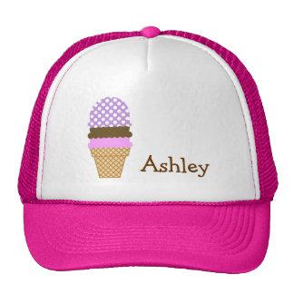Lavender Purple Polka Dots; Ice Cream Cone Trucker Hat