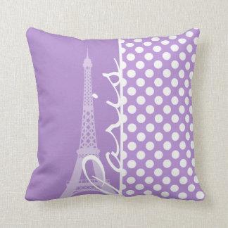 Lavender Purple Polka Dots; Paris Cushion