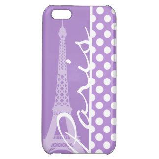 Lavender Purple Polka Dots; Paris iPhone 5C Cases