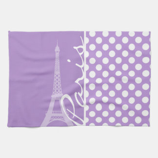 Lavender Purple Polka Dots; Paris Tea Towel