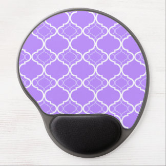 Lavender Purple Quatrefoil Geometric Pattern Gel Mouse Mat